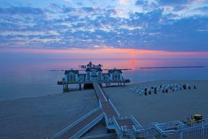 Europe, Germany, Mecklenburg-Western Pomerania, R?gen, Bathing Place Sellin, Pier, Daybreak by Chris Seba