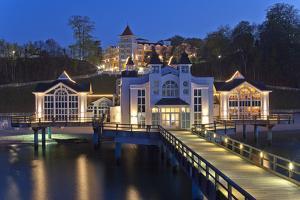 Europe, Germany, Mecklenburg-Western Pomerania, RŸgen, Bathing Place Sellin, Pier, Dusk by Chris Seba