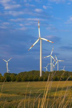 Europe, Germany, Saxony-Anhalt, Magdeburg Bšrde, Wind Turbines by Chris Seba