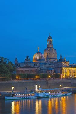 Europe, Germany, Saxony, Dresden, Bank of River Elbe, Church of Our Lady, Cruise Vessels by Chris Seba