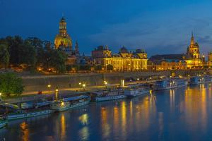 Europe, Germany, Saxony, Dresden, Elbufer (Bank of the River Elbe) by Night, Excursion Ships by Chris Seba