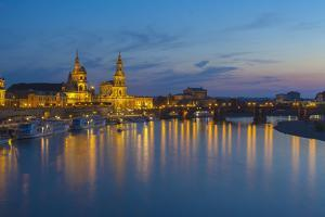 Europe, Germany, Saxony, Dresden, Elbufer (Bank of the River Elbe) by Night by Chris Seba