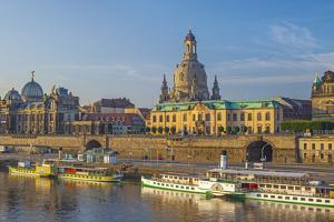 Europe, Germany, Saxony, Dresden, Elbufer (Bank of the River Elbe) with Paddlesteamer by Chris Seba