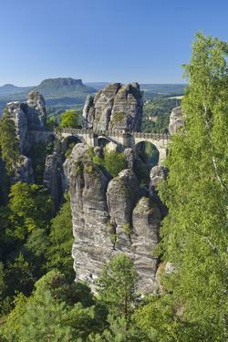 Europe, Germany, Saxony, Elbsandsteingebirge, Bastion by Chris Seba