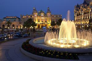 Europe, Principality of Monaco, Monte Carlo, Casino, Fountain, Night by Chris Seba