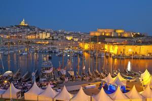 Europe, South of France, Provence, Marseille, Vieux Port Harbour, Celebration, Dusk by Chris Seba