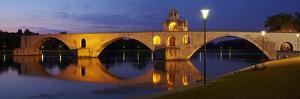 Europe, South of France, Provence, Rhone, Avignon, Pont St Benezet, Lighting, Evening by Chris Seba