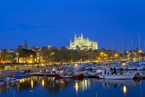 Europe, Spain, Balearic Islands, Island Majorca, Capital of Palma, Harbour, Cathedral, Dusk by Chris Seba