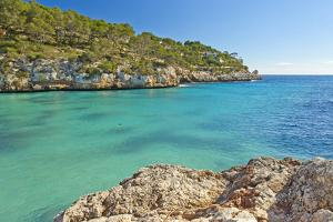 Europe, Spain, Majorca, Cliff-Lined Bay Platja D'Or by Chris Seba