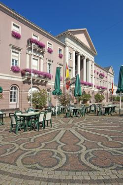 Germany, Baden-WŸrttemberg, Karlsruhe, Market Square, City Hall, Stone Mosaic, Restaurant by Chris Seba