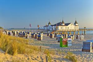Germany, Baltic Coast, Island Usedom, Baltic Sea Spa Town Ahlbeck, Pier, Sunrise, Beach by Chris Seba