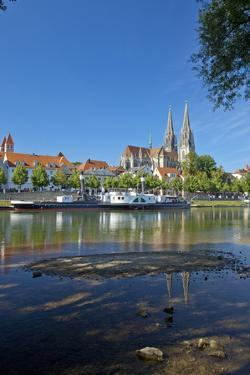Germany, Bavaria, Regensburg, Danube Shore, Museum Ship, Cathedral by Chris Seba