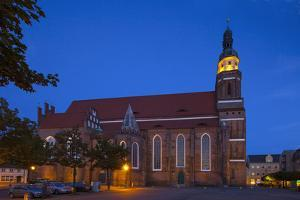Germany, Brandenburg, Cottbus, Cathedral, Evening by Chris Seba