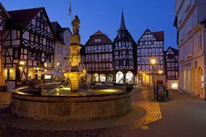 Germany, Hessen, Northern Hessen, Fritzlar, Market, Rolandbrunnen (Well), Evening by Chris Seba
