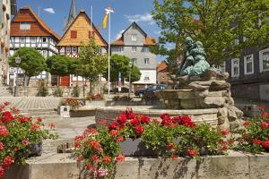 Germany, Hessen, Northern Hessen, Spangenberg, Town Hall Square, Fountain by Chris Seba