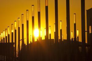 Germany, Lower Saxony, Hannover, Expo Site, Lantern Masts, Sunset by Chris Seba