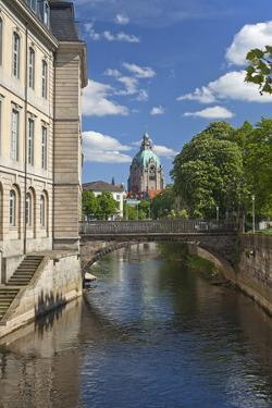 Germany, Lower Saxony, Hannover, Leine, Leibnizufer, Landtag, Bridge, City Hall Tower by Chris Seba