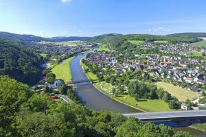Germany, Lower Saxony, Weser Uplands, Weser River, City of Bodenwerder, Panoramic View by Chris Seba