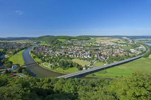 Germany, Lower Saxony, Weser Uplands, Weser River, Town of Bodenwerder, Panoramic View by Chris Seba