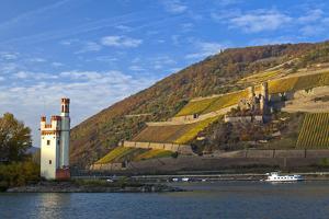Germany, Middle Rhine Valley, Bingen, Rheingau, Binger M?useturm, M?useturm Island, Freight Ship by Chris Seba