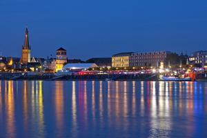 Germany, North Rhine-Westphalia, Dusseldorf, Rhine Shore, at Night, Lights, Reflection by Chris Seba