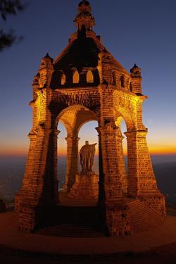 Germany, North Rhine-Westphalia, Porta Westfalica, Emperor-Wilhelm-Monument, Dawn by Chris Seba