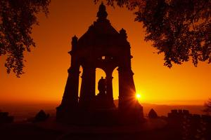Germany, North Rhine-Westphalia, Porta Westfalica, Emperor-Wilhelm-Monument, Sunrise by Chris Seba