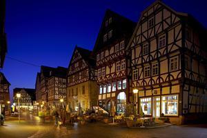 Germany, Northern Hessen, Fritzlar, Market Square, Night by Chris Seba