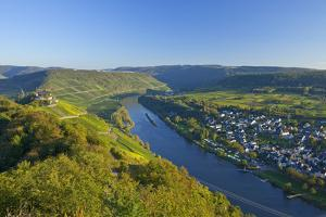 Germany, Rhineland-Palatinate, Moselle Valley, Zell Moselle Oxbow, Puenderich, Barl, Evening Sun by Chris Seba