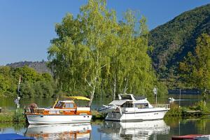 Germany, Rhineland-Palatinate, the Moselle, Niederfell, Harbour Landing Pier, Boats, Yachts by Chris Seba