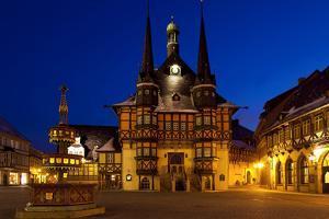 Germany, Saxony-Anhalt, Harz, Wernigerode, City Hall, Night, Lighting by Chris Seba