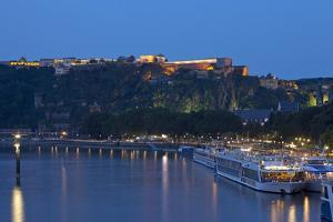 Germany, the Rhine, Koblenz, Ehrenbreitstein Fortress, Moselle Shore, Harbour, Pier, Tourboats by Chris Seba