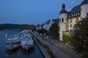 Germany, the Rhine, Koblenz, Ehrenbreitstein Fortress, Moselle Shore, Tourboats by Chris Seba