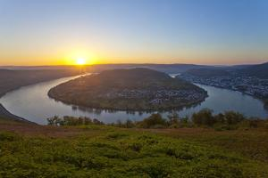 Germany, the Rhine, Rhineland-Palatinate, Boppard, Rhine River Loop, Sunrise by Chris Seba