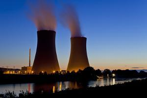 Germany, Weser Hills, Lower Saxony, Grohnde, Nuclear Power Plant, Sunset by Chris Seba