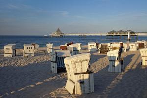 Germany, Western Pomerania, Island Usedom, Heringsdorf, Pier, Beach Chairs, Evening Light by Chris Seba