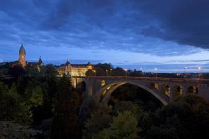 Luxembourg, Capital of Luxembourg, Adolphe Bridge, Place De Metz, Dusk by Chris Seba