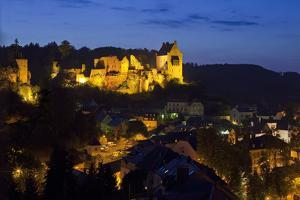 Luxembourg, Mullerthal, Larochette, Larochette Castle, Illuminated, at Night by Chris Seba