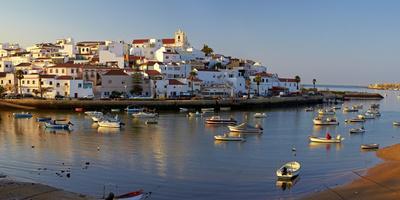 Portugal, Algarve, Portimao, Ferragudo, Townscape, Morning Mood