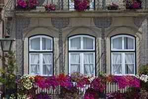 Portugal, Ponte De Lima, Old Town, House Facade, Balconies, Balcony Flowers by Chris Seba