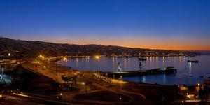 South America, Chile, Pacific Coast, Valparaiso, Harbour Bay, Evening Mood by Chris Seba