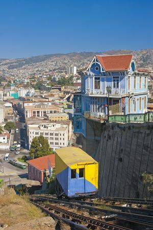 South America, Chile, Pacific Coast, Valparaiso, Harbour, Funicular Railway, Lookout