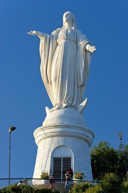 South America, Chile, Santiago De Chile, Mountain Cerro San Cristobal, Statue of the Virgin Mary by Chris Seba
