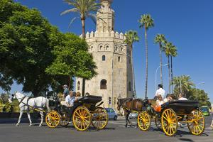 Spain, Andalusia, Seville, Arabian Tower, Torre Del Oro, Horse-Drawn Carriages by Chris Seba