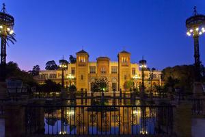 Spain, Andalusia, Seville, Parque De Maria Luisa, Palacio Mudejar, Lighting, Evening by Chris Seba