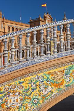 Spain, Andalusia, Seville, Plaza De Espana, Bridge, Puente De Castilla, Close-Up by Chris Seba