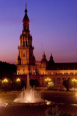 Spain, Andalusia, Seville, Plaza De Espana, West Tower, Fountain, Evening Mood by Chris Seba
