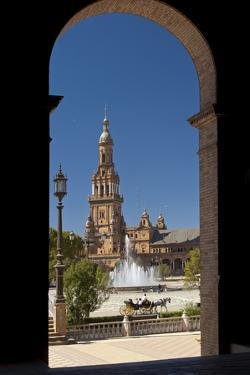 Spain, Andalusia, Seville, Plaza De Espana, West Tower by Chris Seba