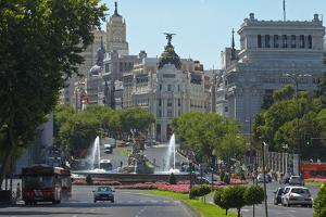 Spain, Madrid, Street-Scene, Calle De Alcala, Plaza De La Cibeles, Cibeles-Fountain by Chris Seba
