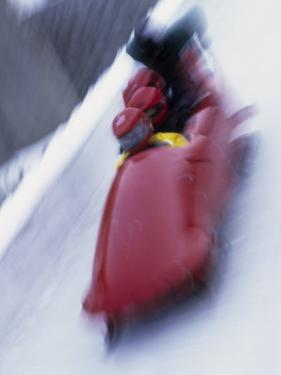 Blurred Action of the Start of 4 Man Bobsled Team, Lake Placid, New York, USA by Chris Trotman